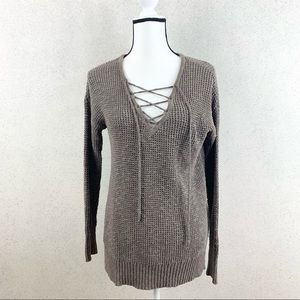 American Eagle  Lace Up Front Sweater Brown Small